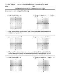 linear and exponential functions worksheets worksheets