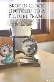broken clock repurposed into a picture frame repurpose clocks
