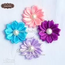 satin ribbon flowers trail order mini satin ribbon flower with pearl diy flowers girl s