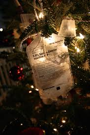 nurse christmas tree empty iv bag with snowflakes added and iv