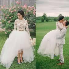 aliexpress com buy rustic 2 pieces high low bridal dress long