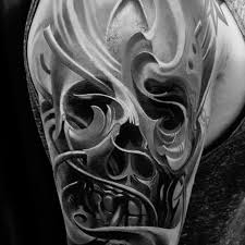 wavy 3d skull by piotr deadi dedel tattoos i find amazing