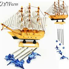 kiwarm 4 sailing boat dolphin bells wind chimes ornaments for