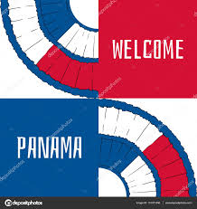 Welcome Flag Welcome To Panama Vector Illustration Travel Design With Pollera