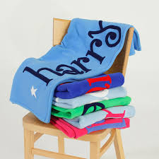 navy on medium blue personalized fleece blanket and nursery kid