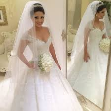 cathedral train v neck beading lace princess wedding dress