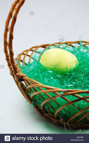 easter basket grass yellow egg in a easter basket with grass stock photo