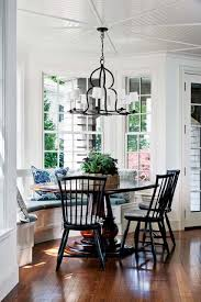 Round Table Granite Bay Built In Bay Window Seat With Round Table And Black Chairs