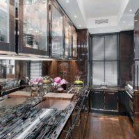 modern kitchen decoration using black glass onyx granite kitchen