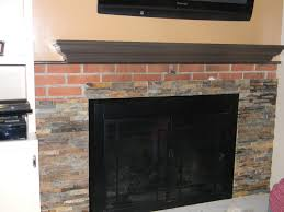 simple cover brick fireplace with faux stone images home design
