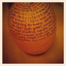 every in november add some things to a thankful pumpkin