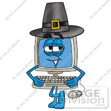 clip graphic of a desktop computer character wearing a