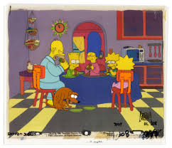 lot detail the simpsons painted cels featuring