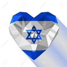 Flag Of Israel Crystal Gem Jewelry Israeli Heart With The Flag Of The State