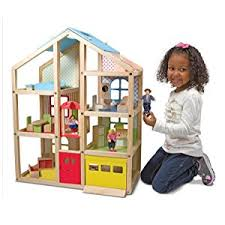 amazon com melissa u0026 doug hi rise wooden dollhouse with 15 pcs