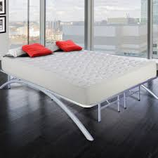 gray steel bed frame plus curving legs combined with white
