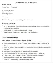 bpo resume template u2013 22 free samples examples format download