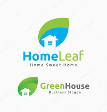 home and design logo abstract house and leaf logo template design u2014 stock vector