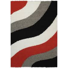 3 X 4 Area Rug Maxy Home Shag Block Striped Waves Red Black White Grey Area Rug