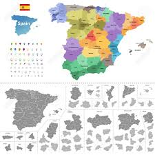 Spain Map Spain Map Colored By Autonomous Communities With Administrative