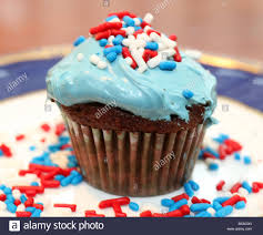 Red White And Blue Chocolate Blue Frosted Chocolate Cupcake Decorated With Red White And