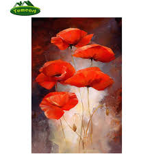 poppies flowers 5d diy diamond painting folral diamond painting cross stitch kits