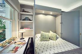 Murphy Style Desk Office Small Guest Room Home Office With Modern Murphy Bed And