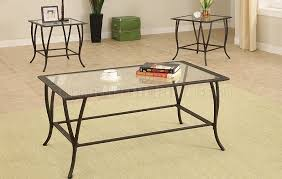 metal frame table and chairs dark metal frame contemporary 3pc coffee table set w glass tops