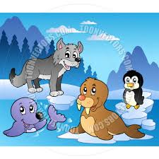 cartoon winter scene with various animals by clairev toon
