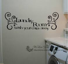 laundry room wash your cares away wall art quote removable package option 1 large size sticker will be post in tube only small size sticker will be precut and carefully folded which is more easier for you and also