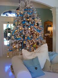 White Christmas Tree With Blue Decorations Accessories Cheerful Design Ideas Using White Nylon Club Chairs