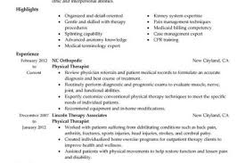 Resume Examples For Physical Therapist by Physical Therapist Resume Template Reentrycorps