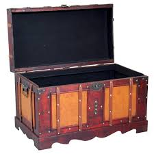 Vintiquewise Antique Cherry Style Steamer Trunk Decorative