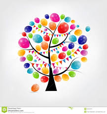 color glossy balloons tree background vector stock vector