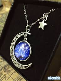 blue moon necklace images Galaxy necklace blue nebula necklace crescent moon necklace space jpg