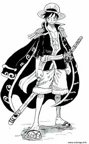 coloriage monkey d luffy cool outfit one piece dessin