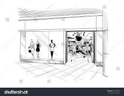fashion store hand drawn sketch interior stock vector 441178066