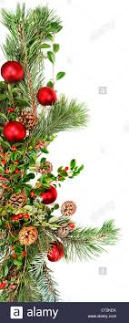 garland with ornaments pine branches pine cones and