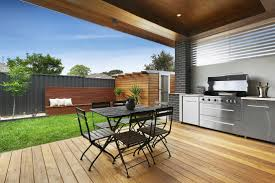 modern alfresco backyard decking bbq built in small courtyard