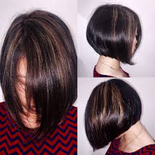 sunkissed highlights on natural asian hair with modern a line bob
