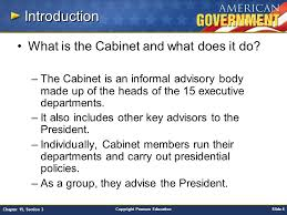 The Cabinet Members Chapter 15 Government At Work The Bureaucracy Section 3 Ppt