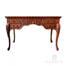 Chinese Desk A Rare Chinese Export 4 Drawer Teak Writing Desk With Carved