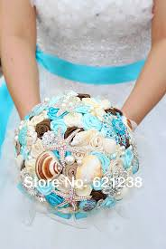 theme wedding bouquets aliexpress buy 7 inch blue shell brooch bouquet handmade