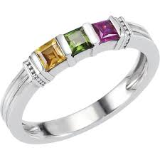 mothers rings white gold gold 1 to 3 square stones s ring