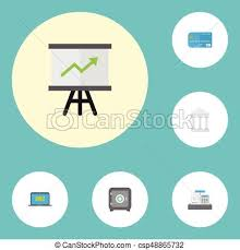 growing chart flat icons till bank growing chart and other vector vectors