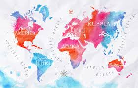 World Map Asia by Watercolor World Map Pink Blue Royalty Free Cliparts Vectors And