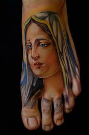 foot virgin mary tattoo idea flower foot tattoo designs cute