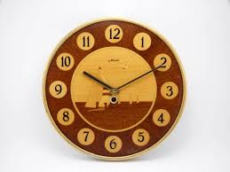 majak soviet wooden wall clock handmade in 60s wall hanging home
