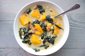 creamy dairy free kale bacon and butternut squash soup anya u0027s eats