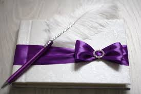 purple guest book purple wedding guest book with pen custom made in purple violet